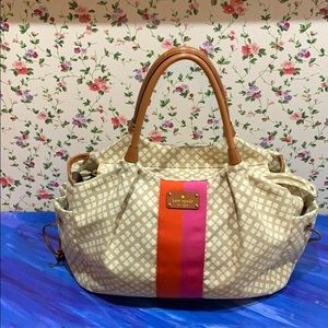 Kate Spade Tote with Leather Bottom and stripes